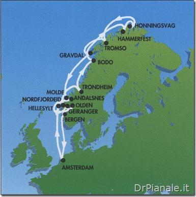 """Crociera 1994 - """"Fiordi Norvegesi e Capo Nord"""" con Costa Allegra - Itinerario"""